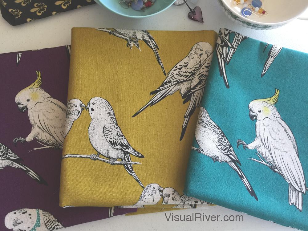 New bird fabric on my work table.