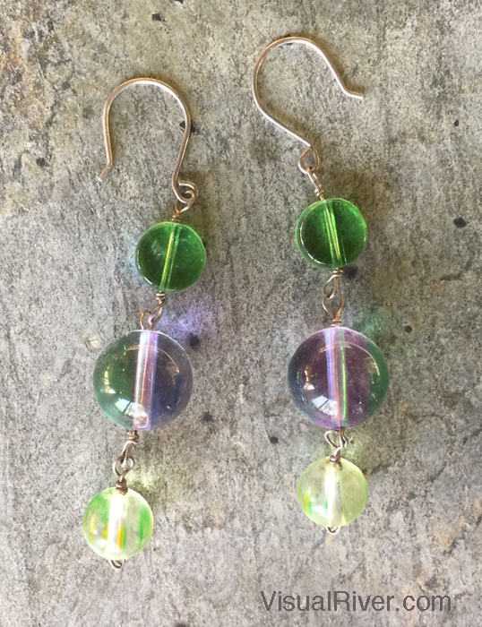 Green and Purple Mod Dangling Earrings