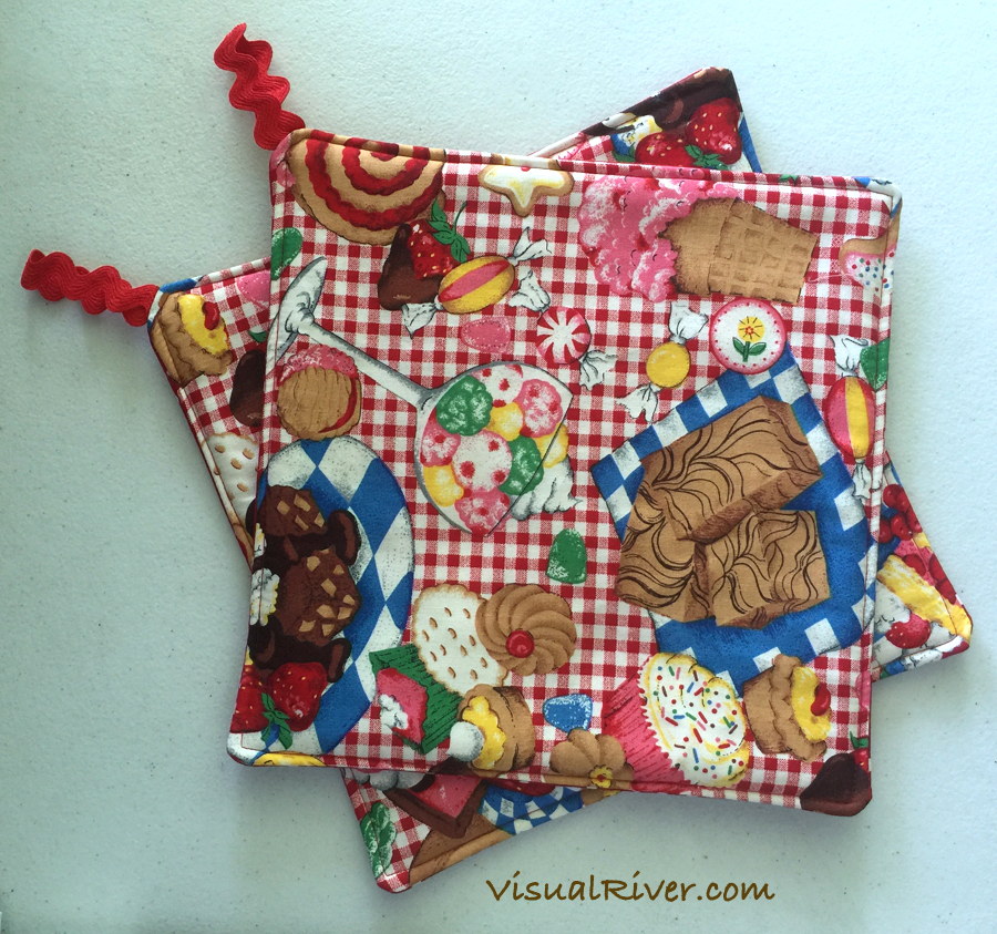 Red and White Dessert Potholders