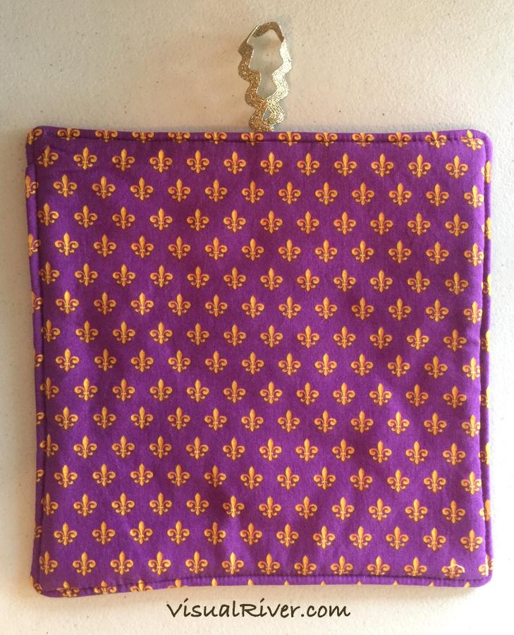 2 Purple and Gold Fleur-de-lis Print Potholders ~ 100% Cotton