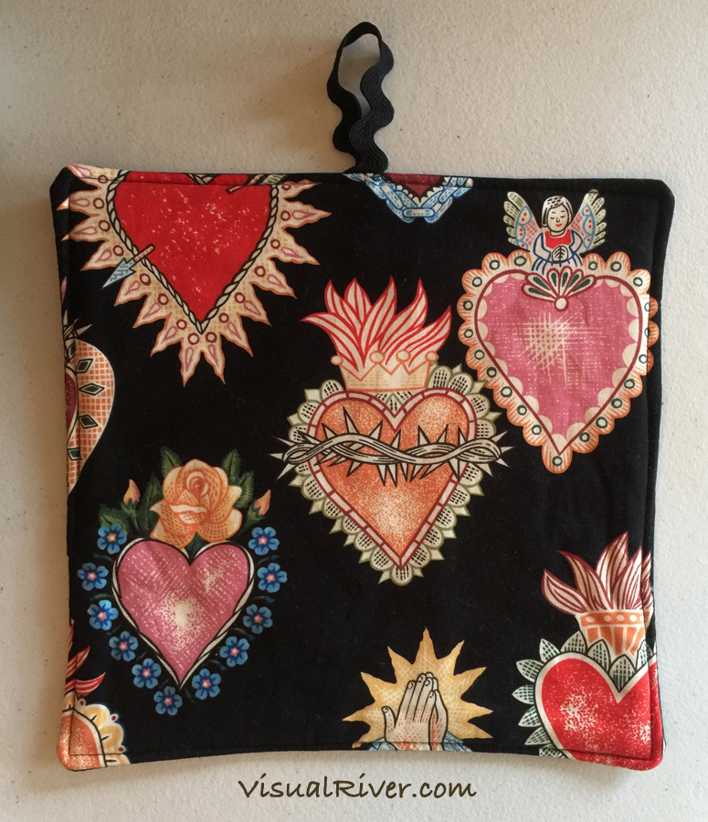 2 Sacred Heart Print Pot Holders ~ 100% Cotton