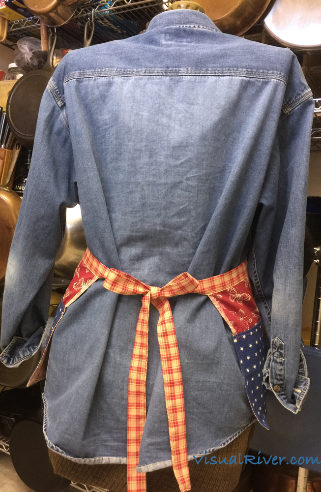 Waitress Style Apron Butterflies and Stars Red White and Blue