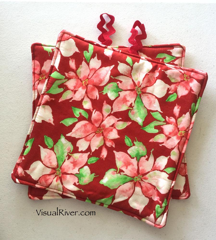 Poinsettia Christmas Pot Holders