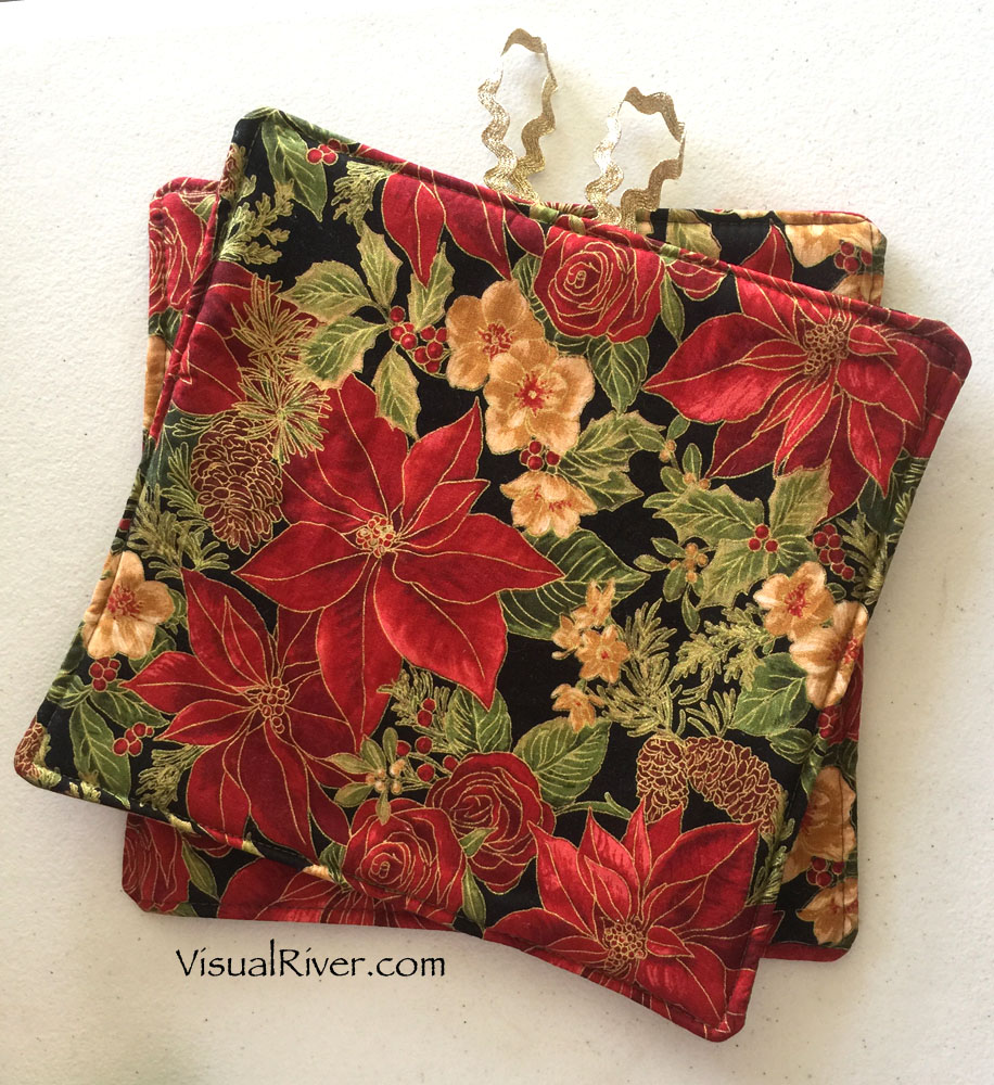 Poinsettia and Flowers Christmas Potholders