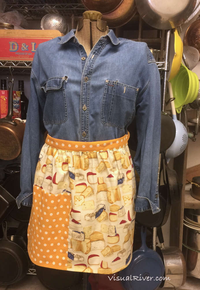 Cheese Half Apron with Polka Dots