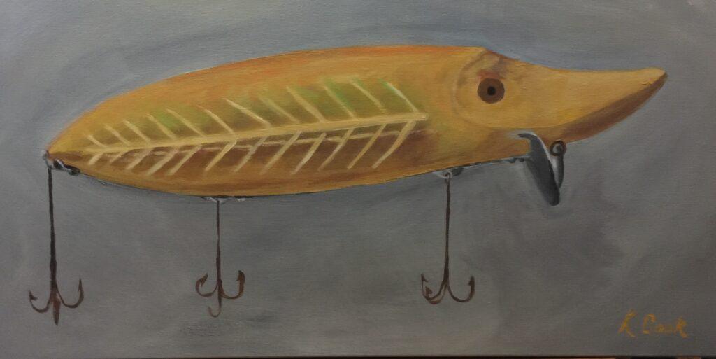 Heddon Spook Vamp Fishing Lure, K Cook, acrylic on canvas