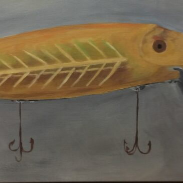 Heddon Spook Vamp Fishing Lure, K Cook, acrylic on canvas