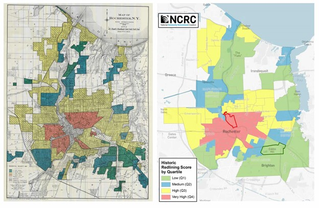 What is redlining?  Shonn: A Redlined map that displays red ink outlining black or low income areas.