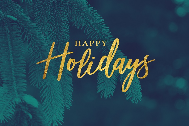 Happy Holidays with dark blue background and leaves