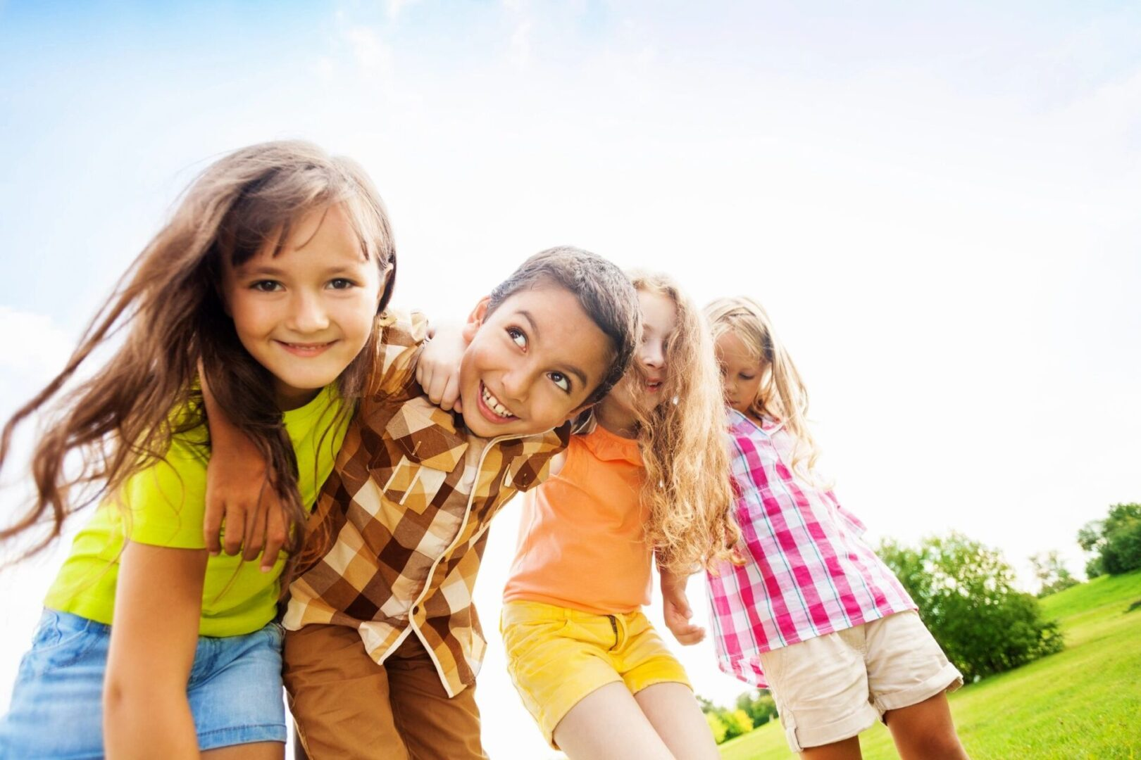 Four children outdoors