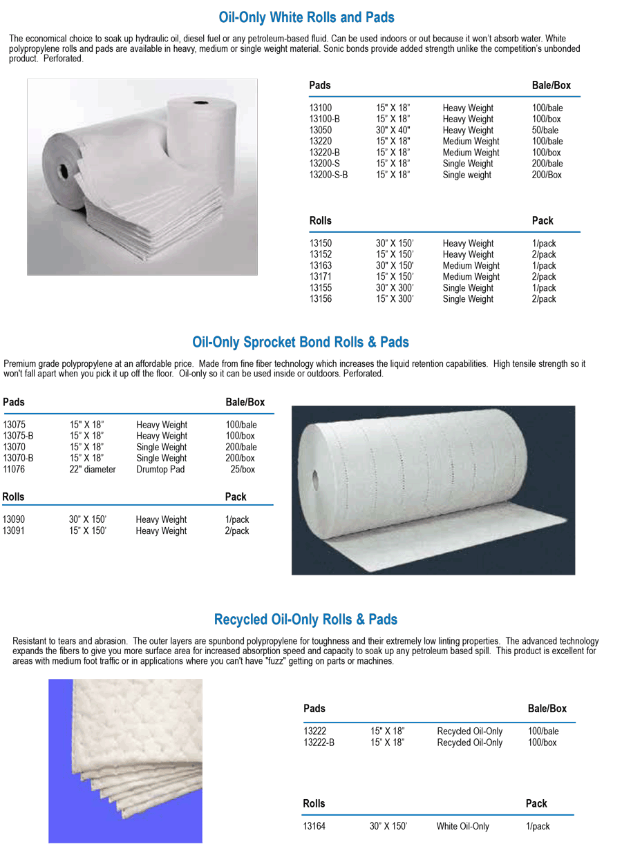 OIL-ONLY ROLLS and Pads