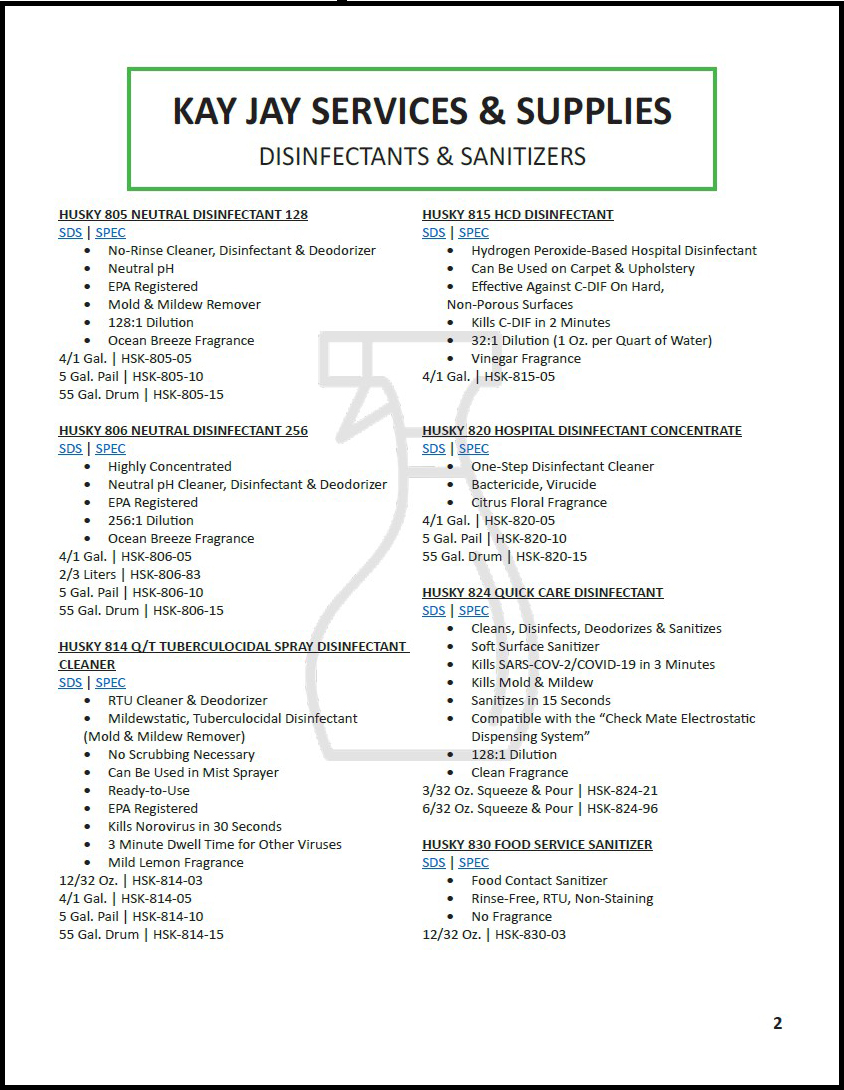 New Disinfectants (Pg. 2)