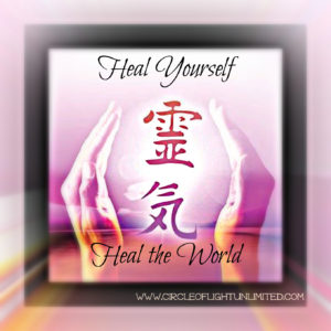 Image of Reiki Kanji in between two hands. Text: Heal Yourself, Heal the World