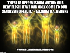 Image of four people outlined in brightly colored lights with the quote superimposed