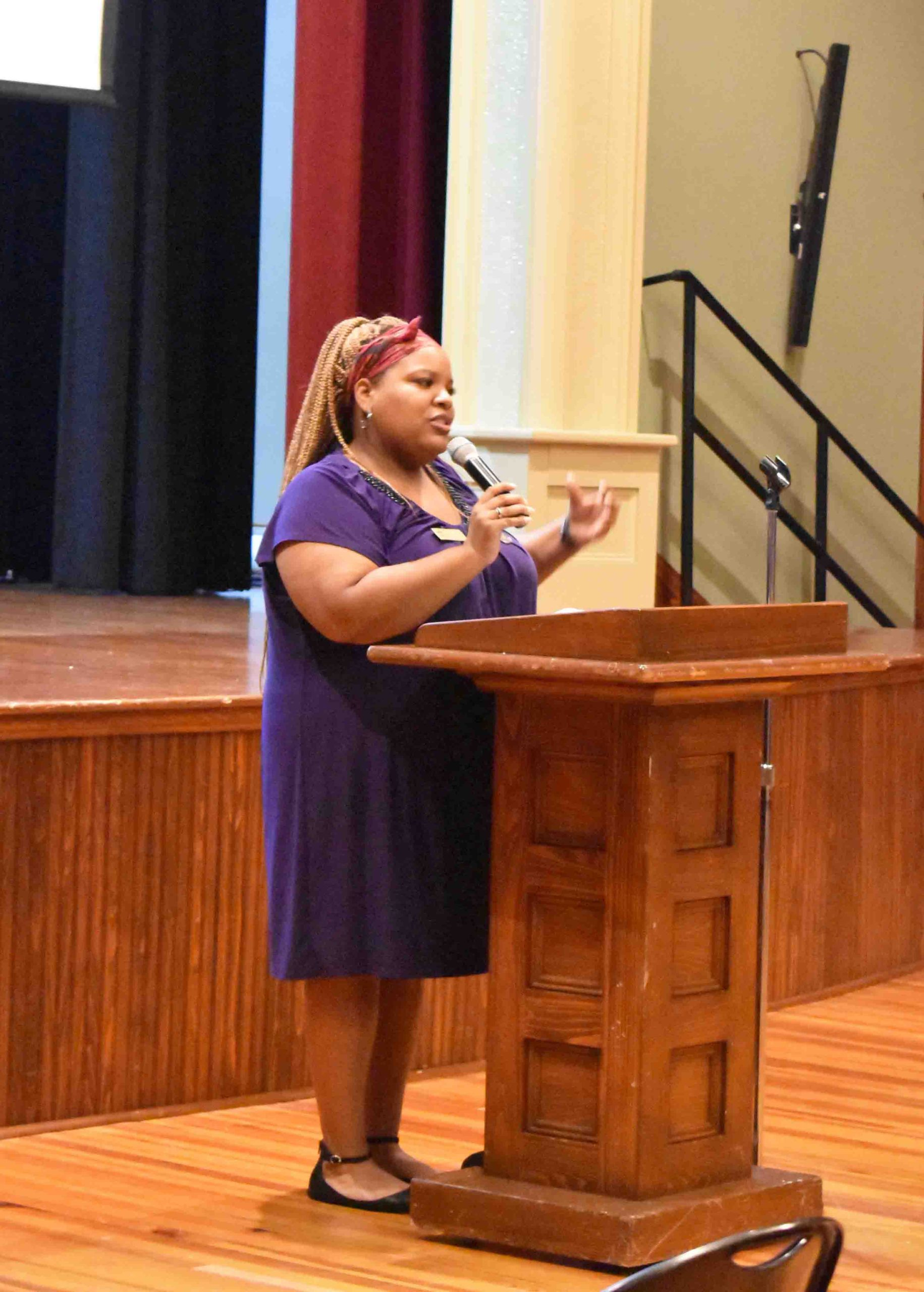 Courtney Bradford, Mosaic Templars Cultural Center Curator, addresses attendees