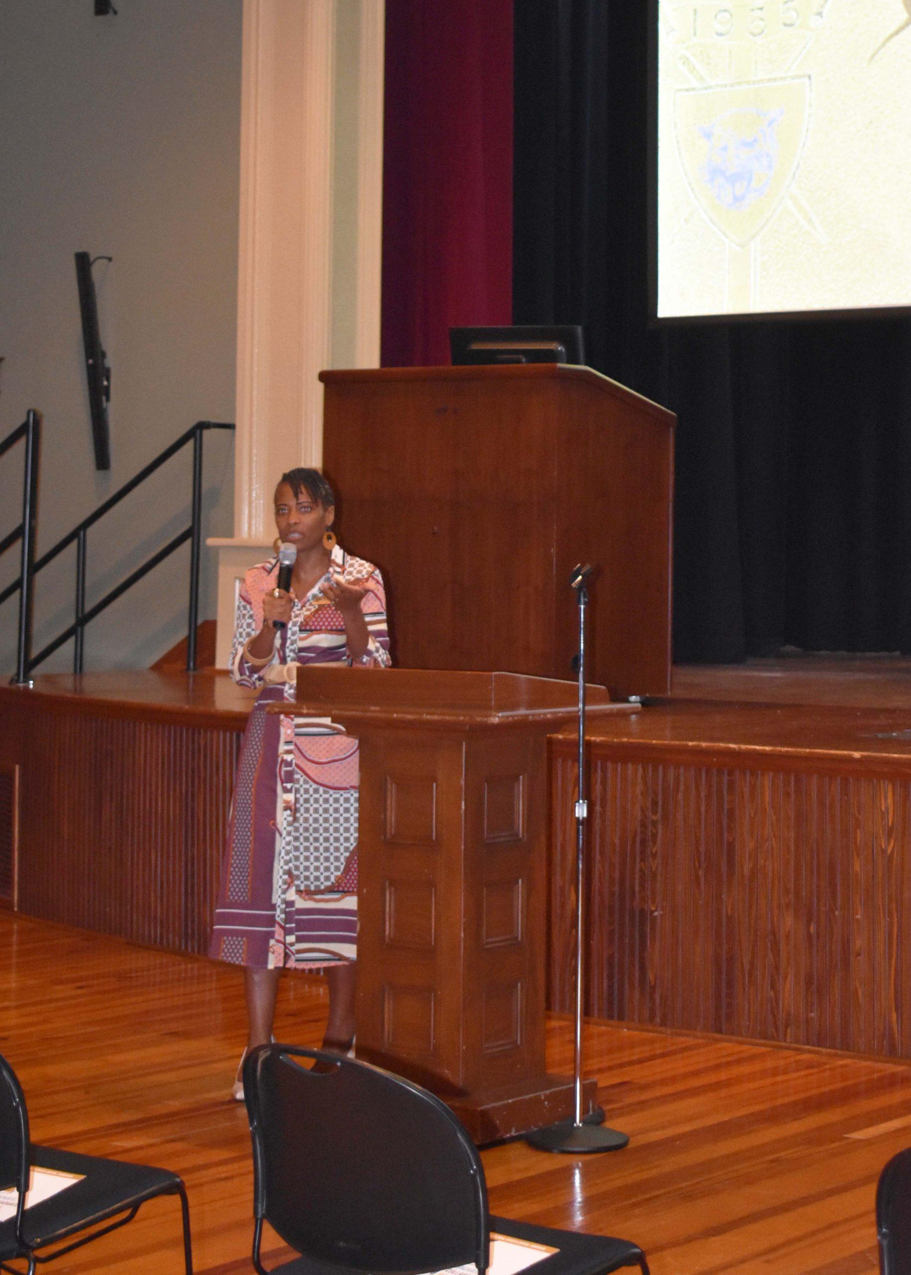 Quantia Fletcher, Mosaic Templars Cultural Center Executive Director, welcomes attendees