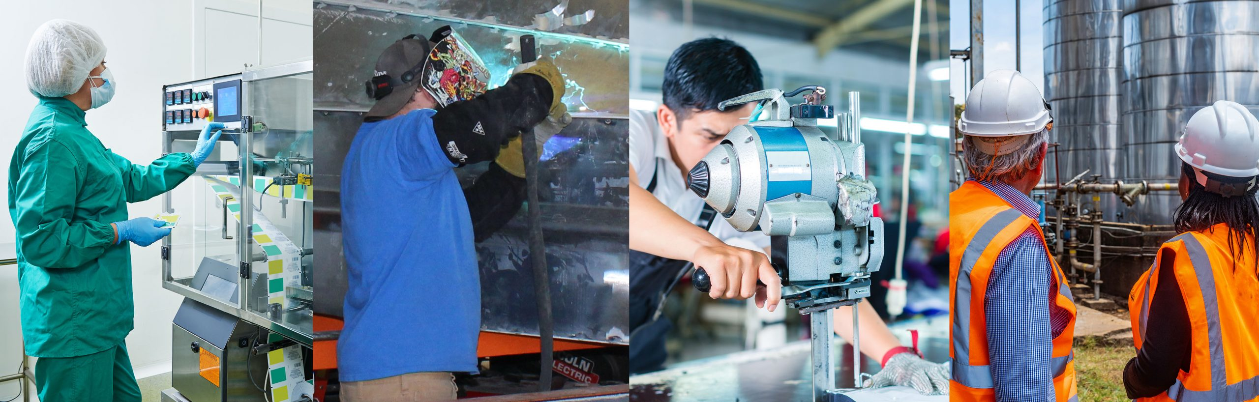 Manufacturing employees working in factories