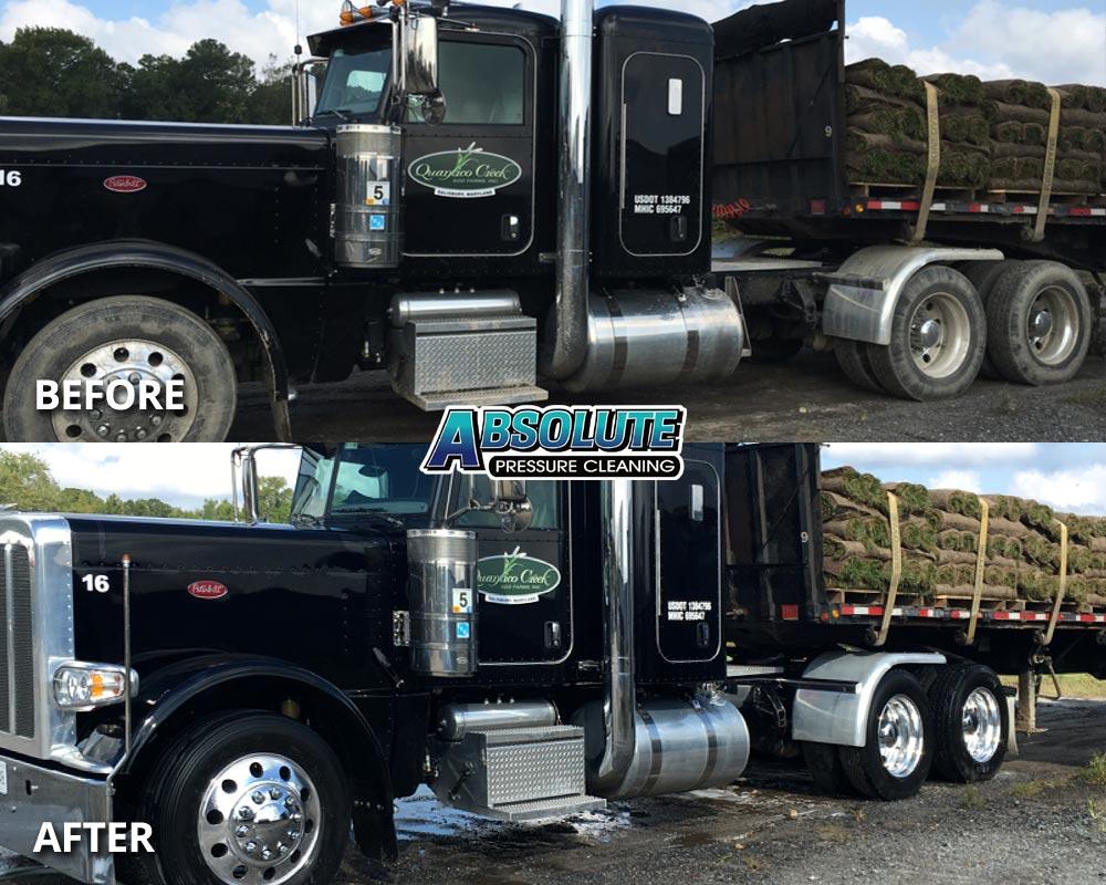 flatbed-truck-fleet-washing-before-after-delmarva-md-de