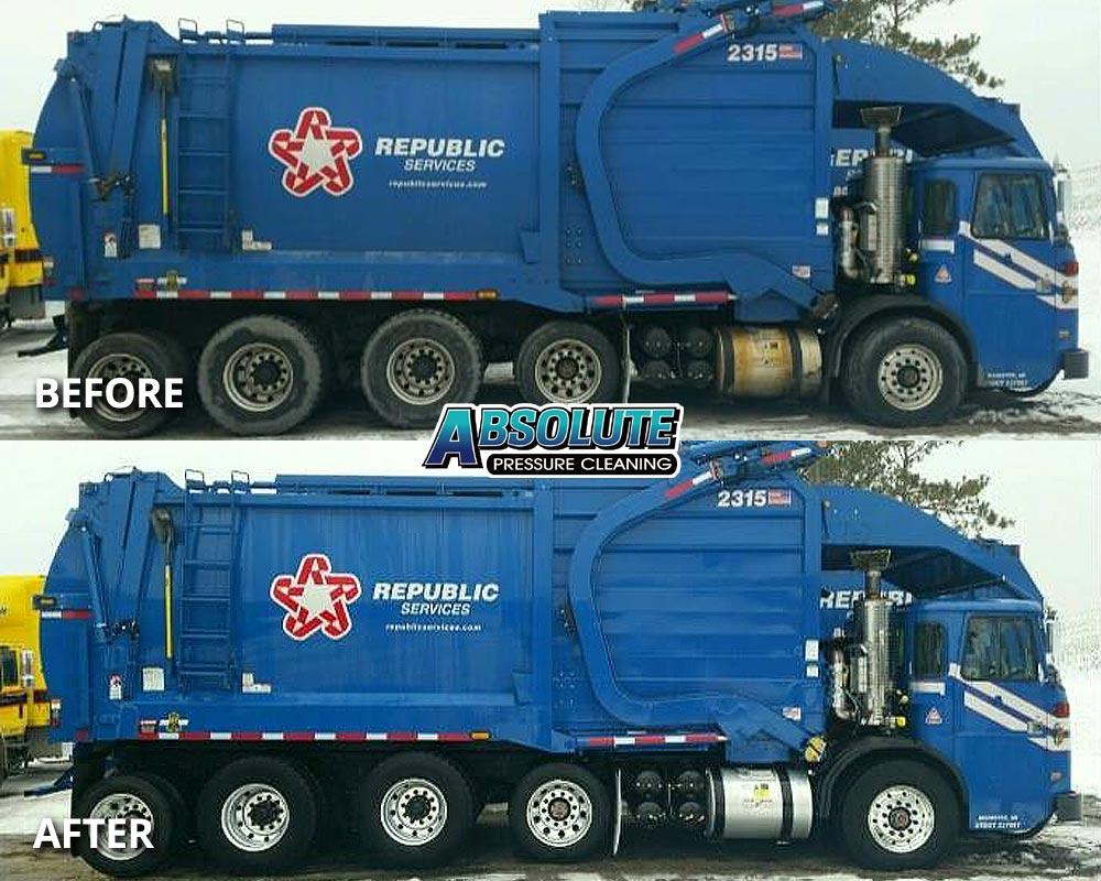 garbage-truck-fleet-washing-before-after-delmarva-md-de