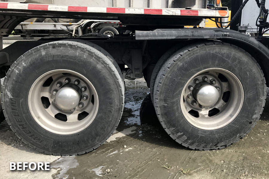 flatbed-truck-wheel-tire-washing-before-delmarva-md-de