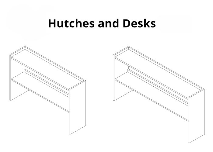 2 drawings of a desk and hutch