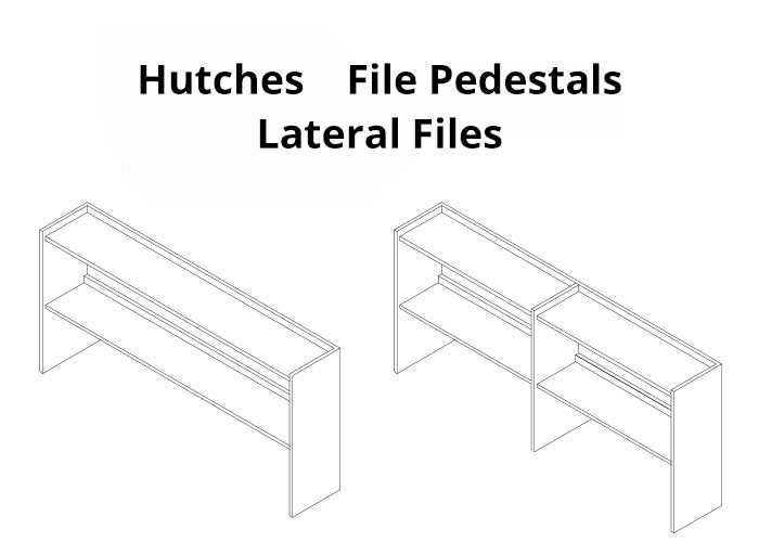 Hutches, file pedestals, and lateral files
