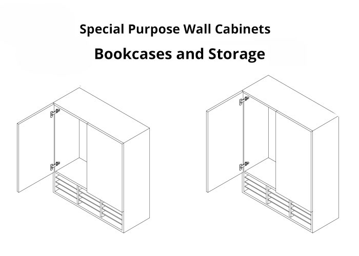 2 images of bookcase and wall cabinet