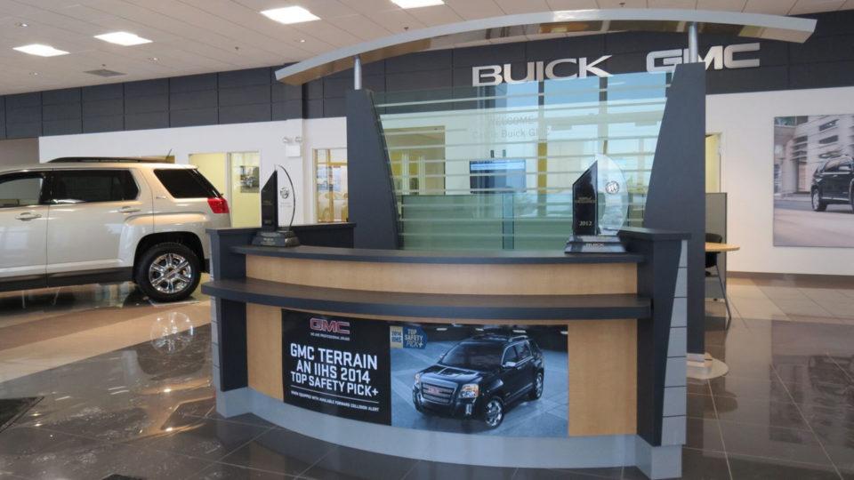 Car dealer reception desk