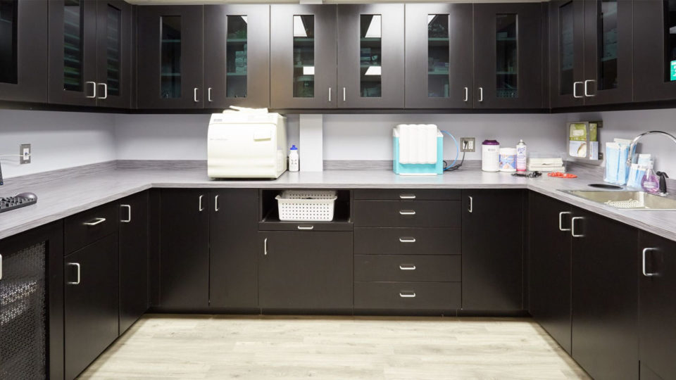 Healthcare dark colored cabinetry with light countertops and a sink