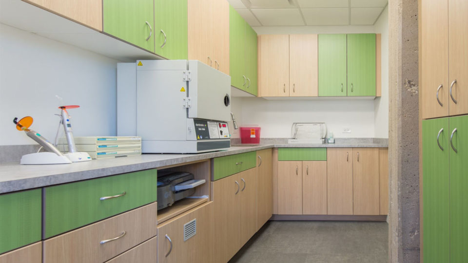 Dental supple room cabinetry with green and tan doors
