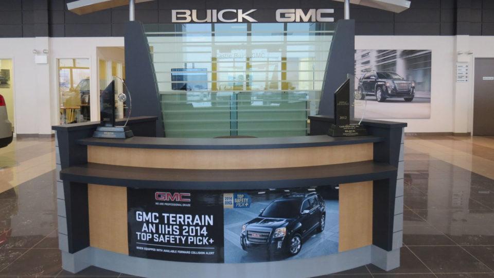 Car dealer showroom reception desk
