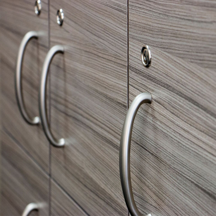 Close up of cabinetry door and handle
