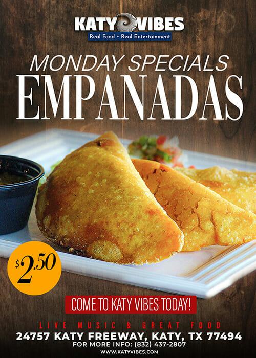 Monday Specials Empanadas $2.50