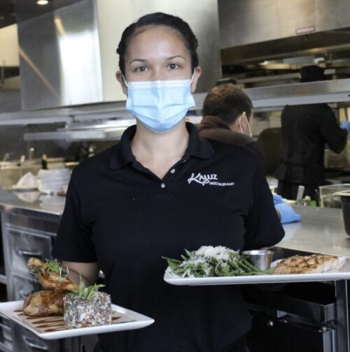 Restaurant Employee Wearing Protective Face Mask