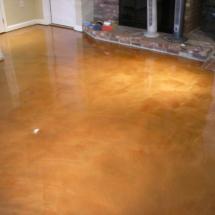 metallic epoxy color (coral) basement floor Provencetown MA.