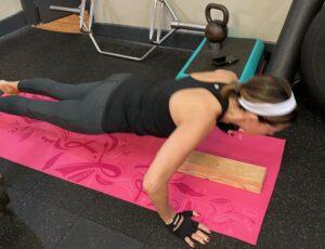 Tina working on pushups in my personal training studio in Boonton
