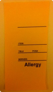 The California Grill's allergy card