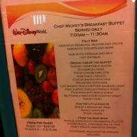 Chef Mickey's - Breakfast menu