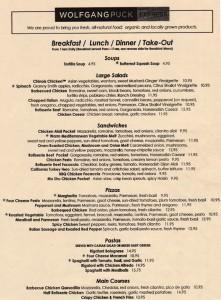 Wolfgang Puck Express - menu
