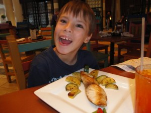 Kevin eating with food allergies at the Pepper Market in 2011