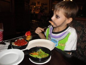 Kevin dining food allergy-free at Tony's Town Square in 2011