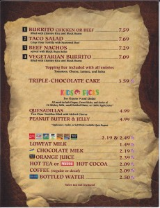 Tortuga Tavern menu - review for food allergy options