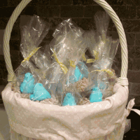 Peeps Bluebirds in Chocolate Rice Crispy Nests in an Easter Basket - Dairy free