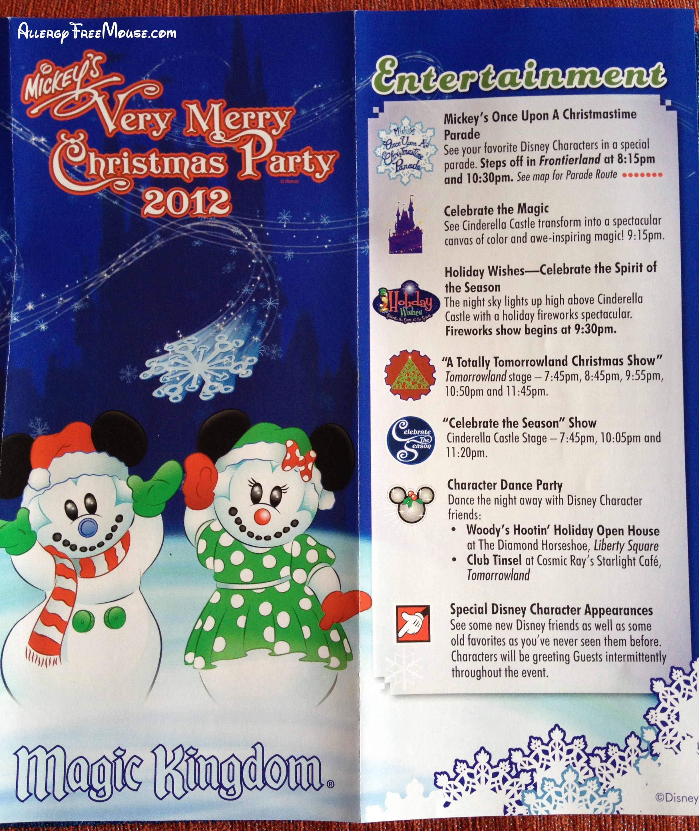 Disney World's Mickey's Very Merry Christmas Party map