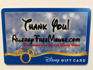 Disney Gift Card winner