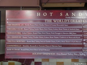 Earl of Sandwich menu right