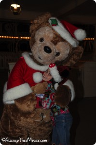Charlotte and Duffy at Disney World during Christmas