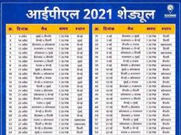IPL 2021 Match Schedule