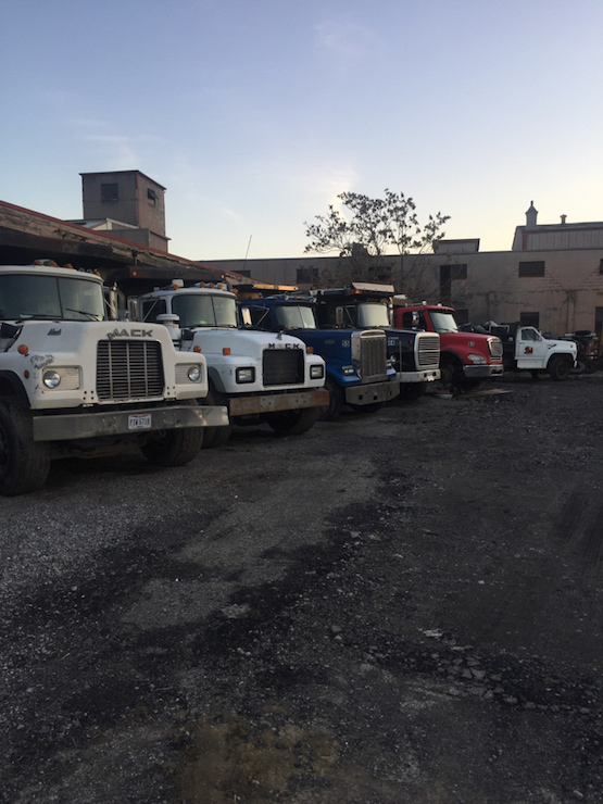 trucks, lined up, demolition