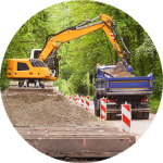 excavator, loading, road work